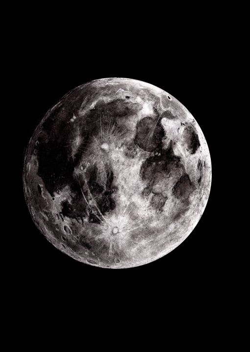 Charcoal Moon Study - Mutch Illustration