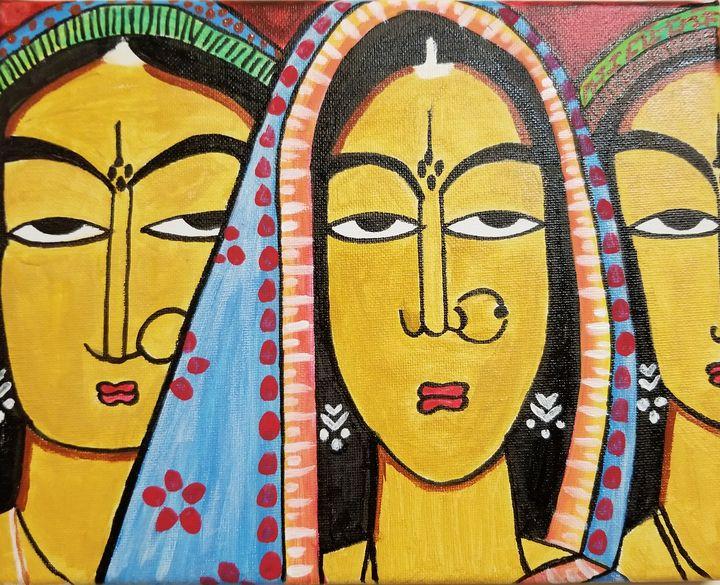 Indian art_Tribal ladies - Happy Times Art