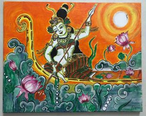 Devi on a boat