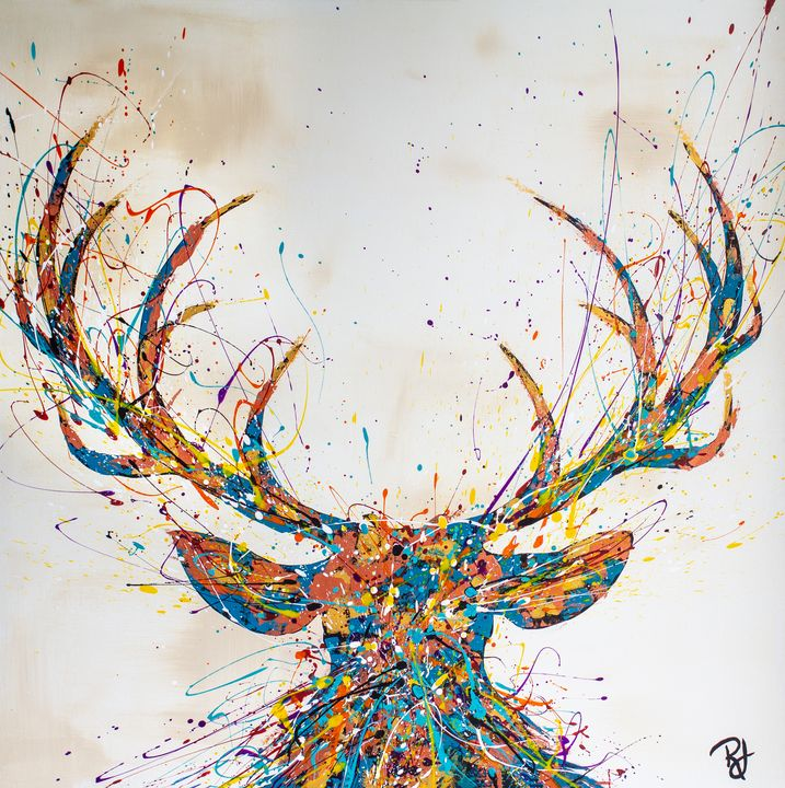 Colorful Deer Splatter - Rachel Joy Studios