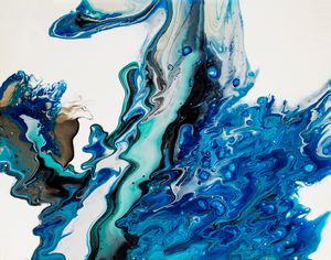 Abstract Blue Fluid Pour