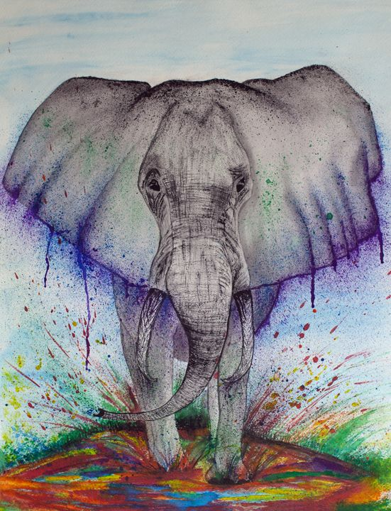 Watercolor Stomping Elephant - Rachel Joy Studios