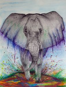 Watercolor Stomping Elephant