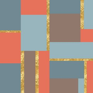 Squares and Gold Geometric Artwork