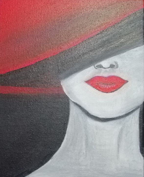 Woman with Red Hat - smALLVictoriesArt