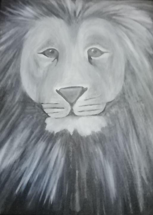 Black and White Lion - smALLVictoriesArt