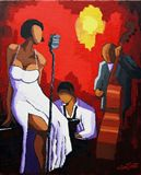 Jazz singer with a white dress