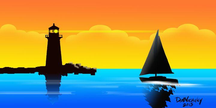 Lighthouse At Sunset Sky - Art of Don Macauley