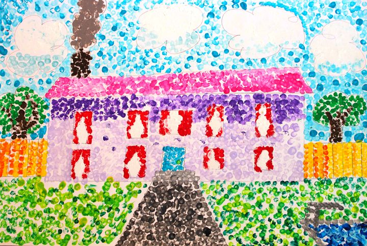 House with a Hot Pink Roof - Art by Ava