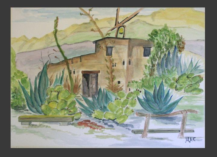 Adobe in the Desert - Artwork by Maggie