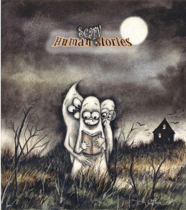 Scary Human Stories - Spooky Moon Art