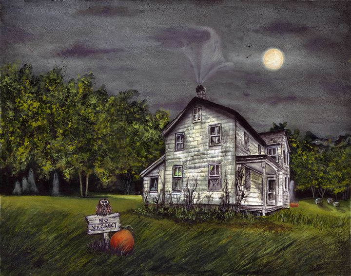 No Vacancy - Spooky Moon Art
