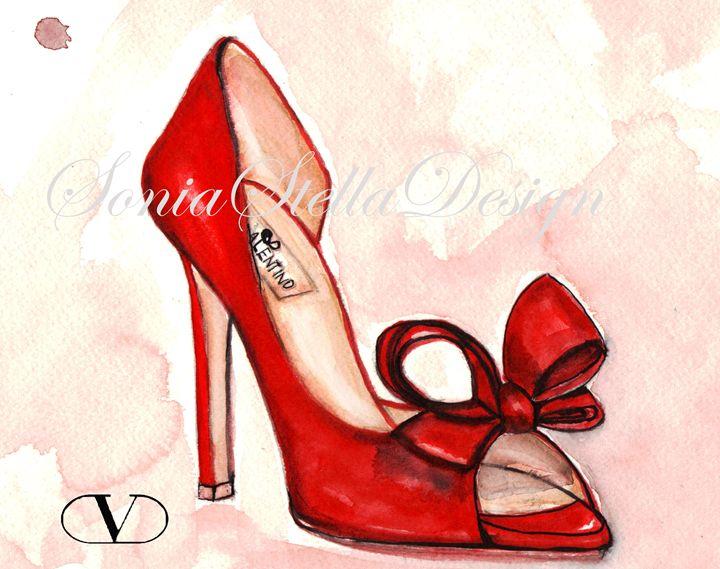 VALENTINO Fashion Illustration - Original Fashion Art by SoniaStellaDesign