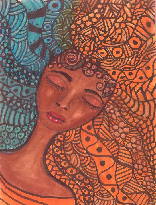 Fire and Water Zentangle Princess - Debra Brewer Art Gallary