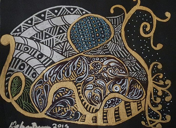 Gold/Silver Zentangle Line Art 1 - Debra Brewer Art Gallary