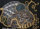 Black Canvas Zentangle Gold & Silver
