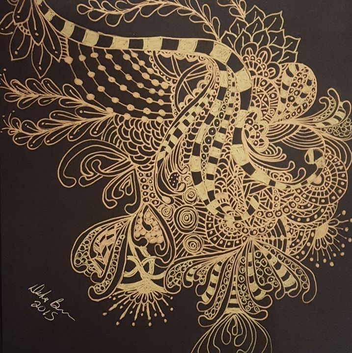 Black and Gold Zentangle 2 - Debra Brewer Art Gallary