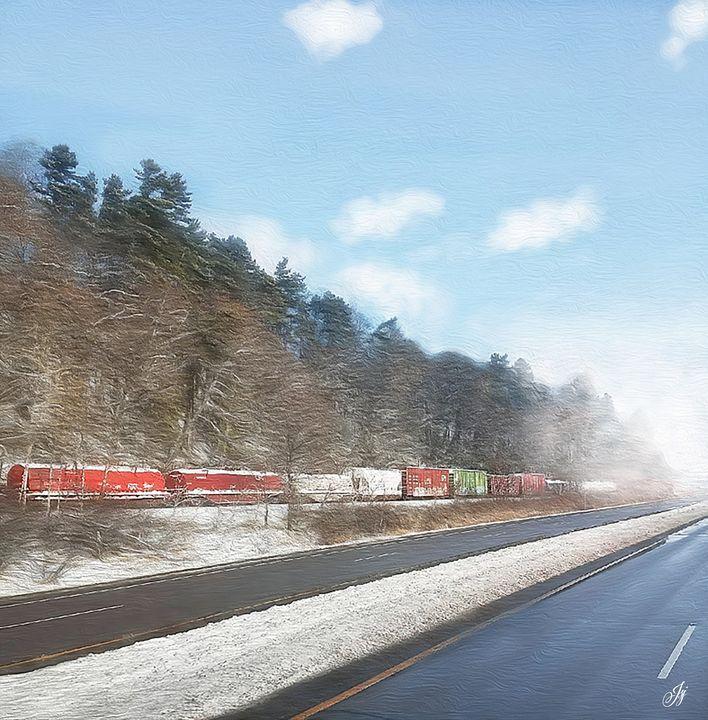 Train Through Mist - JSJ Designs+