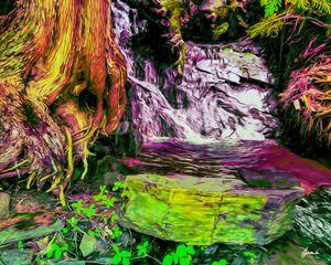 Purple Mossy Waterfall