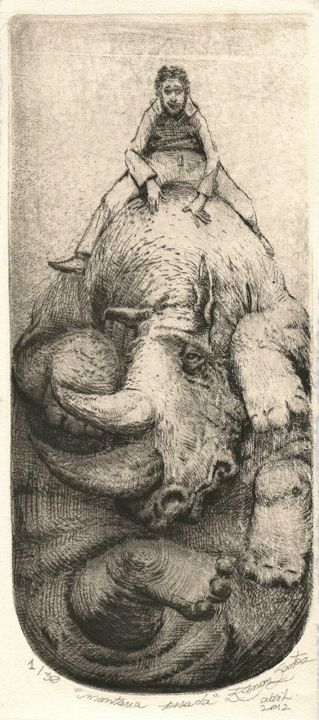 """Heavy Ride"" - Renan Santos Etching, drypoint and burin"