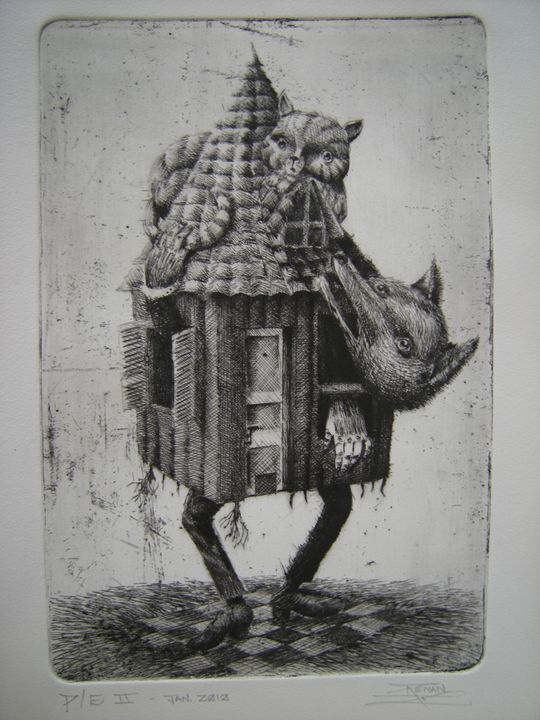 """""""My Roof"""" - Renan Santos Etching, drypoint and burin"""