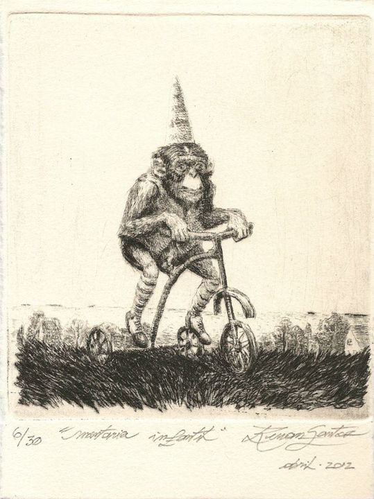 """""""Infant Ride"""" - Renan Santos Etching, drypoint and burin"""