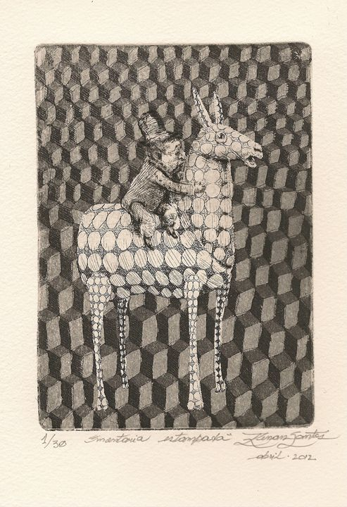 """Stamped Ride"" - Renan Santos Etching, drypoint and burin"