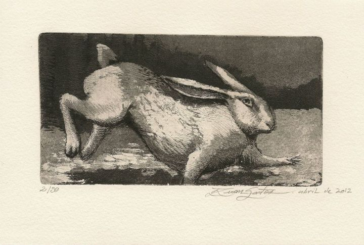 """""""Hare"""" - Renan Santos Etching, drypoint and burin"""
