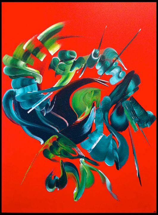 Tableau abstrait Volcan du coeur - Martine Belfodil |paints made hands