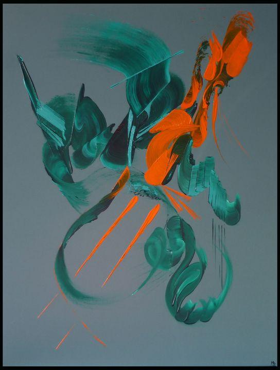 Peinture abstraite Désir - Martine Belfodil  paints made hands