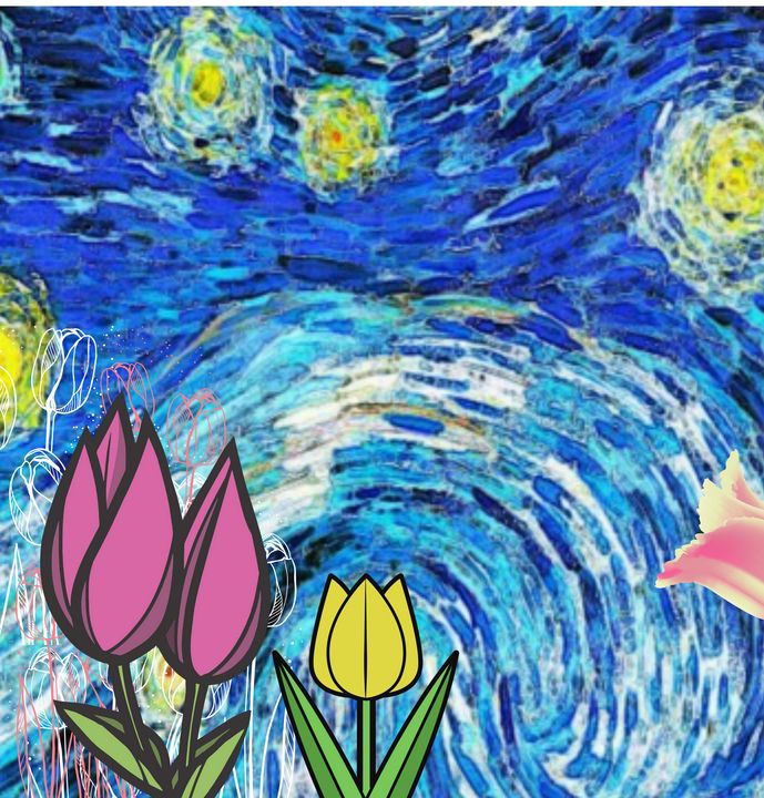 The Starry Night Tulips - Art4u2