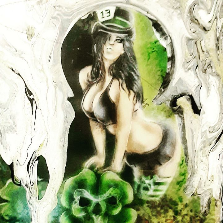 Pinup and green  skull - Art by One