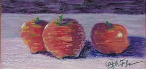 Apples in oil pastel