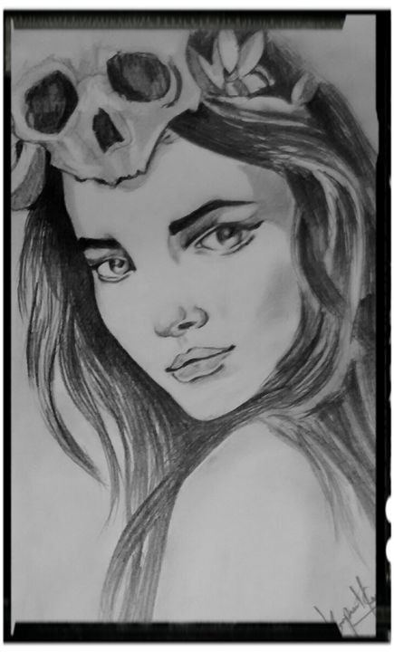 Girl crowned skull - Hk Art