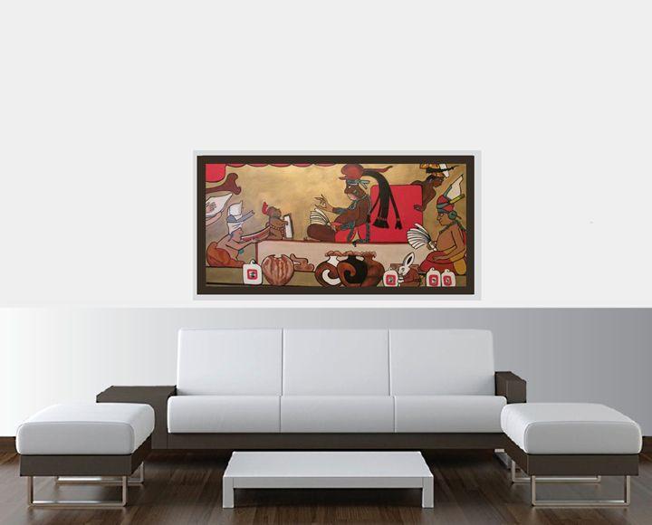 Ancient Mayan King on Throne - Amy Koch Johnson- May Art