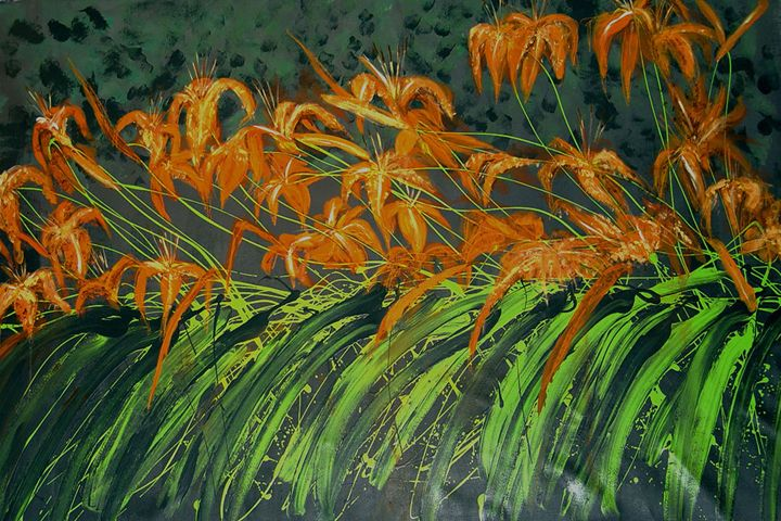 Tiger Lily Garden Pero Art Paintings Prints Landscapes