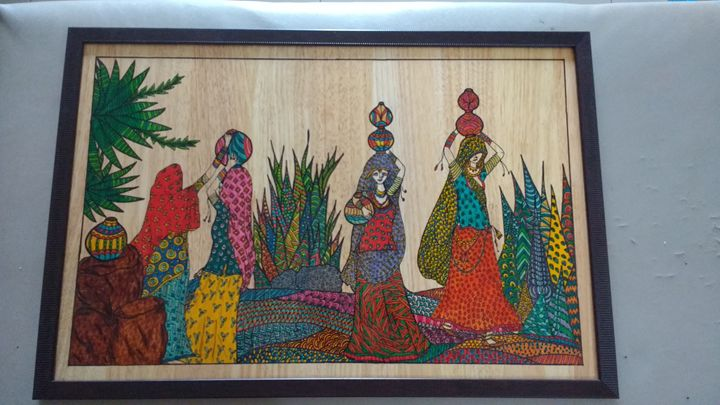 Indian women's fletching water. - Zentangle artz