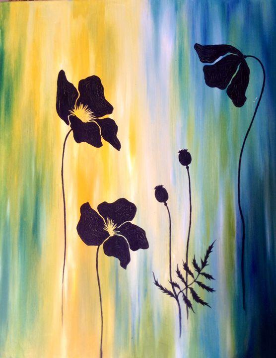 Black Poppies - Original art - BordeauxArtGallery