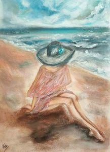 Lady on sea beach