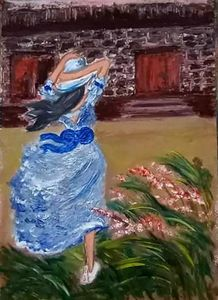 Lady with windy