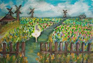 Lady in Dutch flower field