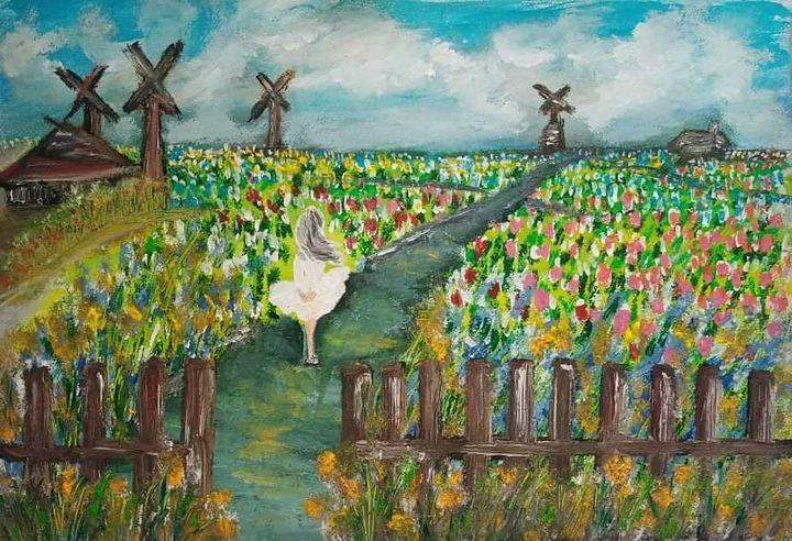 Lady in Dutch flower field - Kob