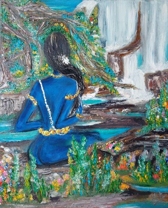 Lady looking at the falls - Kob