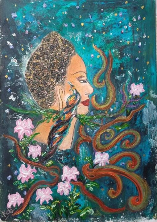 Peacock beside the Buddha - Kob