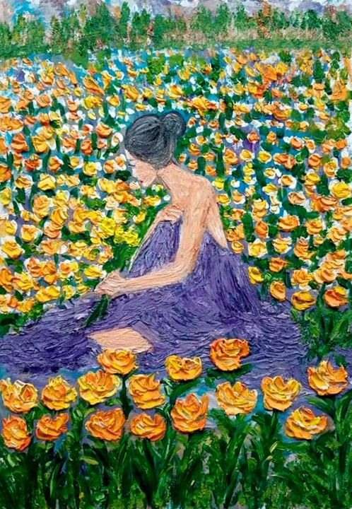 Yellow  flower with lady. - Kob