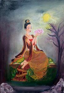 Heavenly lotus under the moonlight