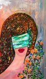 Lady wearing  mask.