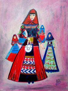 Family in Sunday dress.