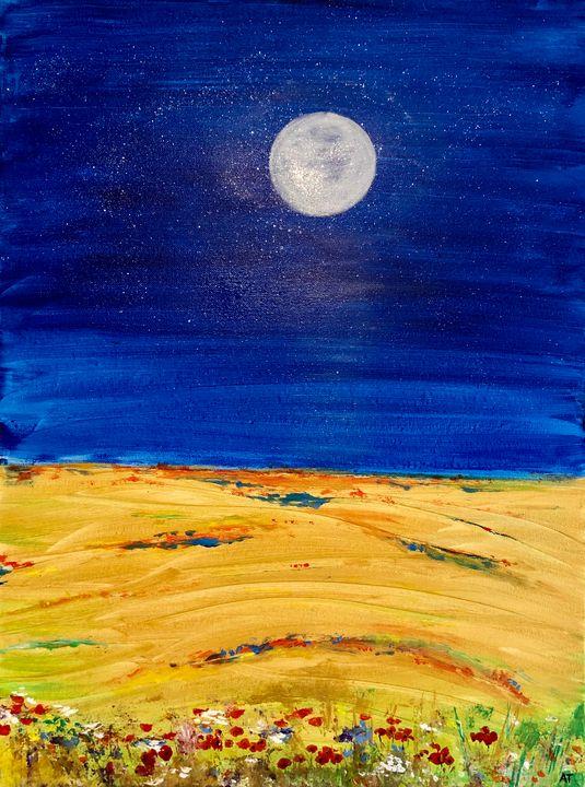 Summer night on a field - Angela Tocila Art