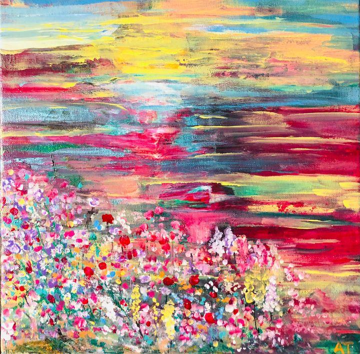 Sunset over fields - Angela Tocila Art